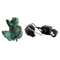 Fontänpaket; groda i brons, 15 cm , pump, slang, frakt