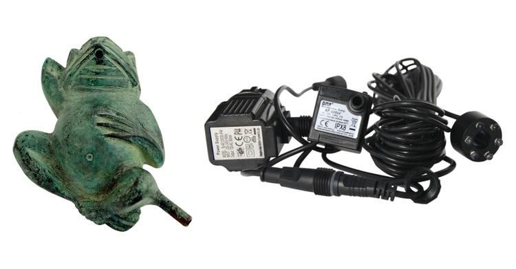 Fontänpaket; groda i bRons, 06 cm, pump, ljus, slang, frakt