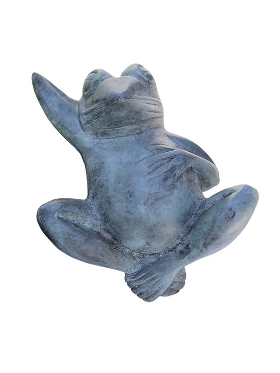 Fontän, groda, i brons, 30 cm, liggande på rygg