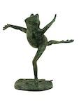 Fontän, löpande groda i brons, 35 cm