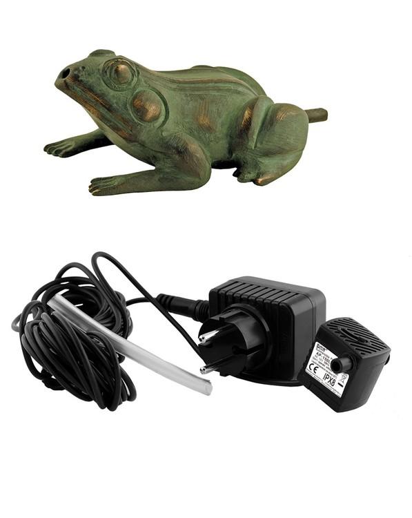 Fontänpaket; groda i brons, sittande, 10 cm, pump, frakt