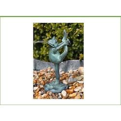 Fontän, groda gjord i brons,  stående, höjd 21 cm, böjer bakbenet