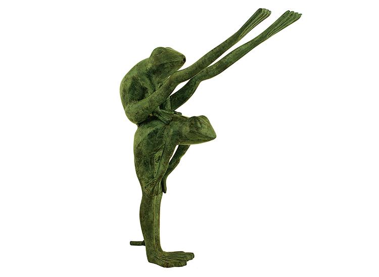 Fontän, bockhoppande grodor i brons, höjd 35 cm