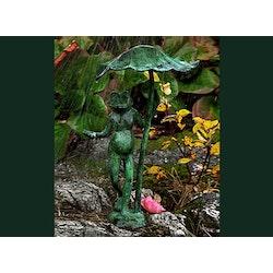 Groda under näckrosblad i brons, 40 cm, ljusgrön