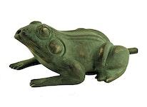 Fontängroda gjord i brons, sittande, 10 cm, grön