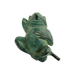 Fontän, groda, i brons, 26 cm, liggande på rygg, grön