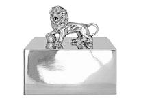 Stort skrin i tenn med lejon från Munka Sweden, design Fredrik Strömblad