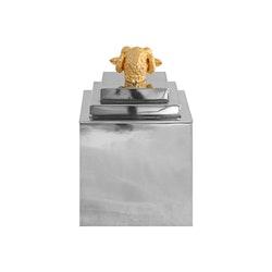 Teburk i tenn med förgylld bagge på locket, från Munka Sweden, Design Fredrik Strömblad