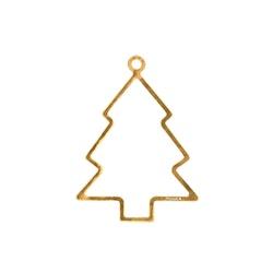 Julpynt - GRAN för gran eller fönster handgjuten i tenn och förgylld med 24 karat guld, stämplade Munka