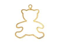 Julpynt - NALLE - för gran eller fönster handgjuten i tenn och förgylld med 24 karat guld, stämplade Munka