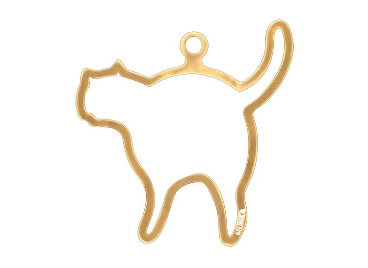 Julpynt - KATT - för gran eller fönster handgjuten i tenn och förgylld med 24 karat guld, stämplade Munka