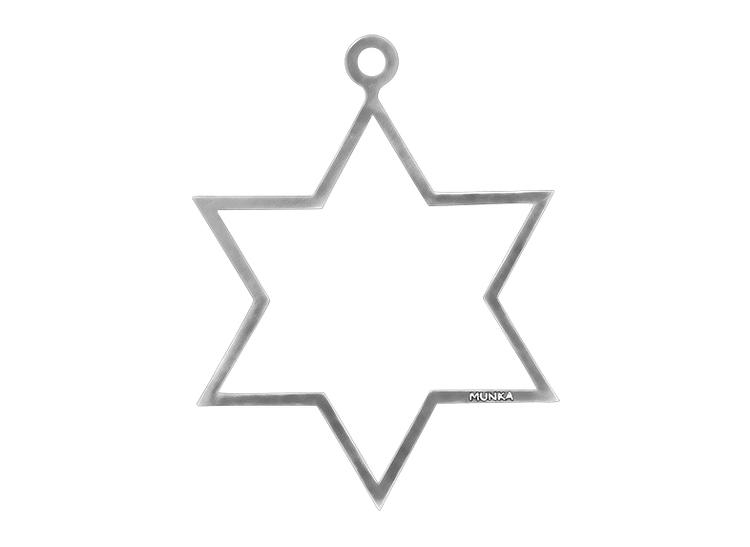 Julpynt - STJÄRNA för gran eller fönster handgjuten i tenn, stämplade Munka