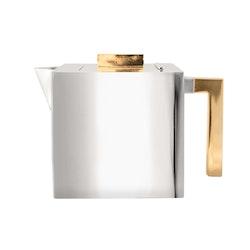 Kaffekanna i tenn, stor, låg modell, med förgylld knopp och handtag, från Munka Sweden
