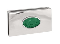 Stor tändsticksask med grön malakit sten