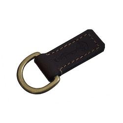Nyckelring i läder och mässing