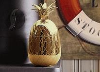 Ananas, polerad mässing skål med lock 21 cm