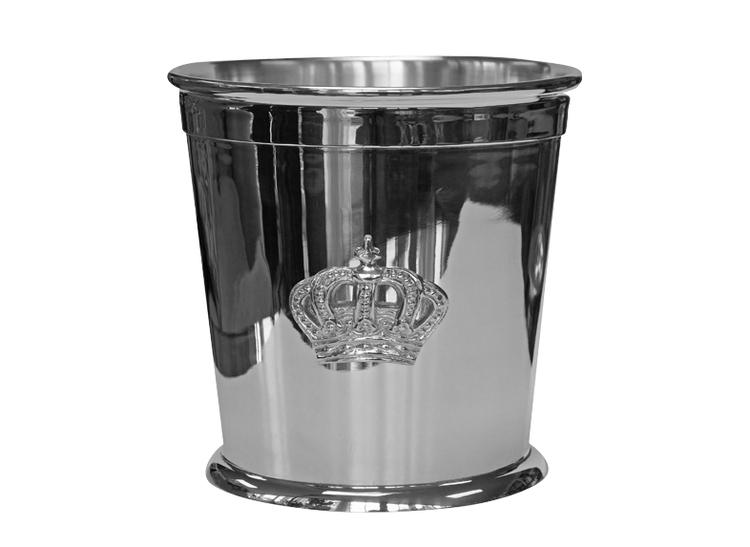 Champagnekylare eller blomkruka med krona som silverpläterats