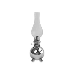 Fotogenlampa i nickelpläterad mässing på 3 kulfötter, klassisk Gusums Messing design