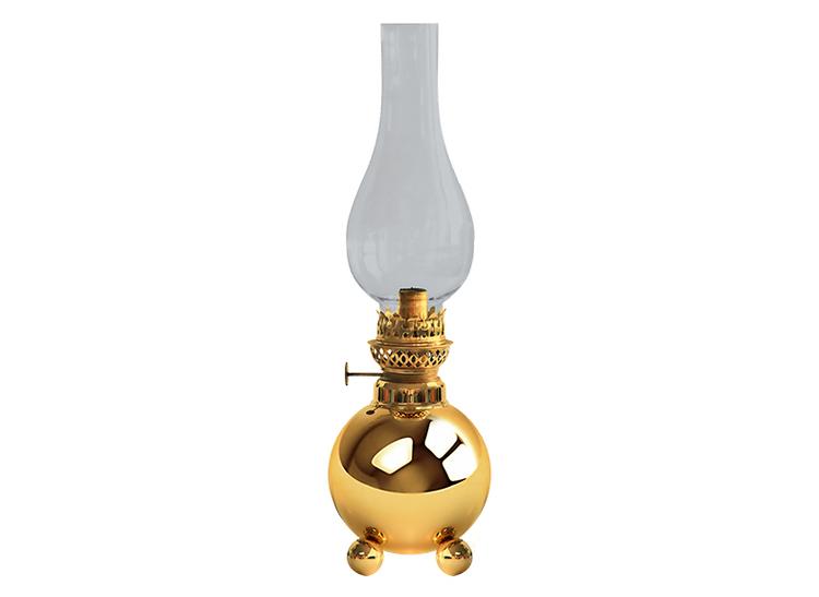 Fotogenlampa i mässing på 3 kulfötter, klassisk Gusums Messing