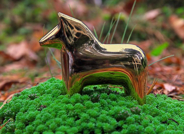 Dalahäst i mässing, 10 cm, från Gusums Messing