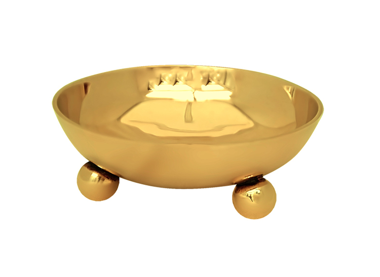 Större skål i mässing i klassisk Gusums Messing design på tre kulfötter