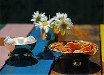 Liten skål i mässing med kulfötter från  Gusums Messing