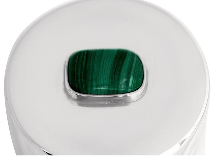 Ask i tenn, med sten i malakit på locket, rund 5 x 6 cm