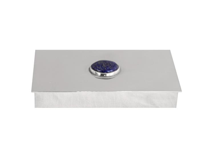 Skrin i tenn med lapis lazuli sten på locket, rektangulär