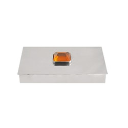 Skrin i tenn med stor gul sten på locket, rektangulär