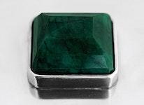 Skrin i tenn med stor smaragd-liknande på locket, rektangulär