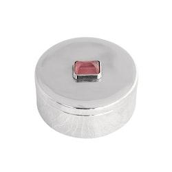 Ask i tenn,  med rosa sten på locket, rund 3 x 7 cm