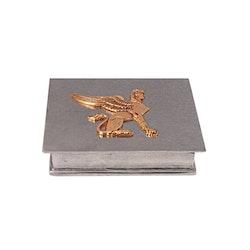 Skrin i tenn från Munka Sweden, Sfinx i guldfärg, lock med gångjärn