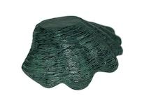 Snäckskal i aluminium som är grönpatinerat