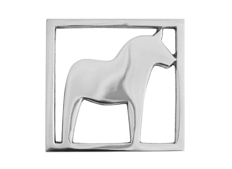 Glasunderlägg i form av Dalahäst, polerad aluminium