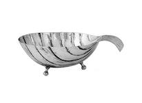 Snäckskal mindre, utan lock i i silver antik pläterad mässing