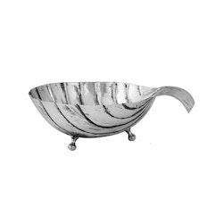 Snäckskal, större, i mässing som pläterats i antik silver