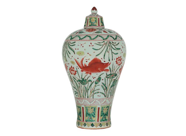 Urna med lock, 42 cm, fiskar, Ming dynastin