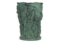 Urna, 27 cm, hästar i grön patina i aluminium