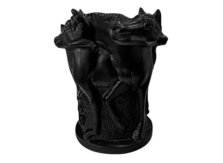 Urna, 27 cm, med hästar i profil, brons, svartmålad