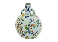 Pilgrimsflaska, 28 cm, blommor och fåglar, Ming dynastin