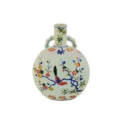 Pilgrimsflaska med blommor och fåglar, Ming dynastin