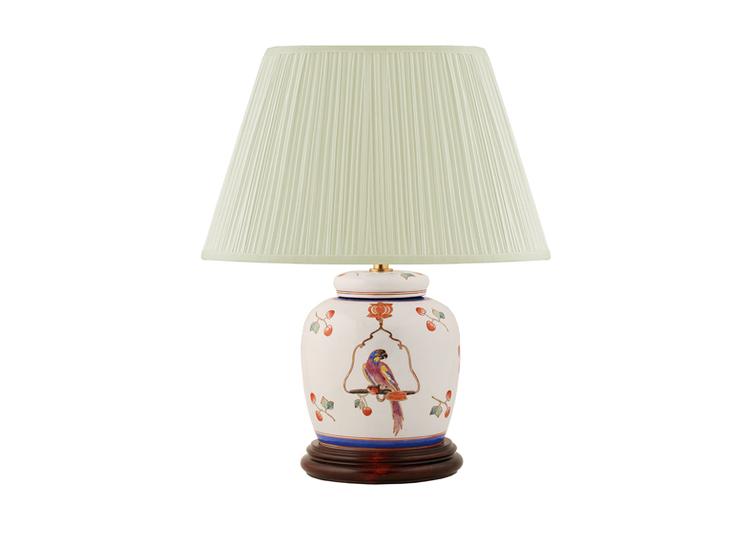 Lampfot i porslin, 17,5 cm, papegoja på gunga