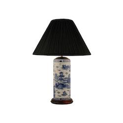 Lampfot i porslin, 30 cm i penmodell, blåvit,willow mönster