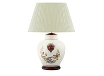 Lampfot i porslin, 30 cm, vapensköld och fasaner