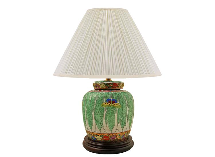 Lampfot i porslin, 22,5 cm, kålblad med fjäril