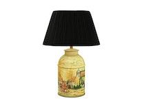 Lampa, 36 cm,handmålad, engelskt bymotiv, i plåt