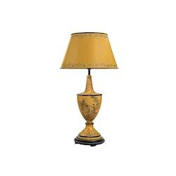 Lampa, handmålad, gul botten, helt i plåt