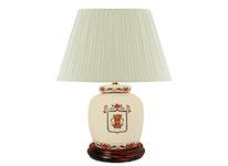 Lampfot i porslin, 17,5 cm, Vasakärve på vit botten
