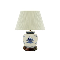 Lampfot i porslin, 17,5cm, blått skepp, på vit bottem