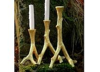 Tre ljusstakar som trädgrenar, i guldfärg, 21 cm, 28 cm, 34 cm från Mr Fredrik